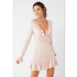 UO Pink Polka Dot Wrap Dress